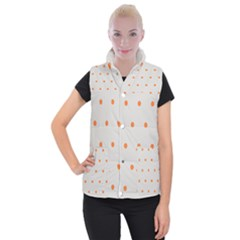 Diamond Polka Dot Grey Orange Circle Spot Women s Button Up Puffer Vest