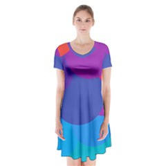 Circles Colorful Balloon Circle Purple Blue Red Orange Short Sleeve V Neck Flare Dress by Mariart