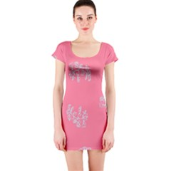 Branch Berries Seamless Red Grey Pink Short Sleeve Bodycon Dress
