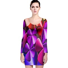 Colorful Flower Floral Rainbow Long Sleeve Velvet Bodycon Dress by Mariart