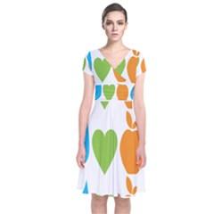 Fruit Apple Orange Green Blue Short Sleeve Front Wrap Dress by Mariart