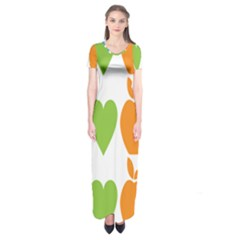 Fruit Apple Orange Green Blue Short Sleeve Maxi Dress by Mariart