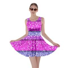 Violet Girly Glitter Pink Blue Skater Dress by Mariart