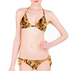 Abstract Brachiate Structure Yellow And Black Dendritic Pattern Bikini Set