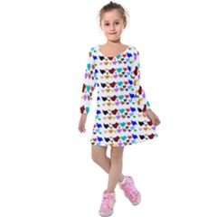 A Creative Colorful Background With Hearts Kids  Long Sleeve Velvet Dress