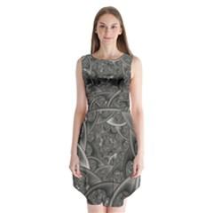 Fractal Black Ribbon Spirals Sleeveless Chiffon Dress   by Nexatart