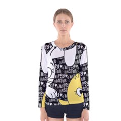 Easter Bunny And Chick  Women s Long Sleeve Tee by Valentinaart