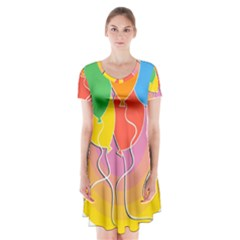 Birthday Party Balloons Colourful Cartoon Illustration Of A Bunch Of Party Balloon Short Sleeve V Neck Flare Dress by Nexatart