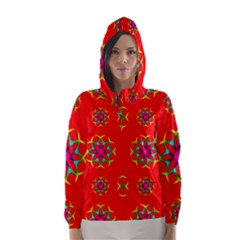 Rainbow Colors Geometric Circles Seamless Pattern On Red Background Hooded Wind Breaker (women)