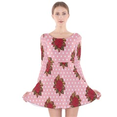 Pink Polka Dot Background With Red Roses Long Sleeve Velvet Skater Dress by Nexatart