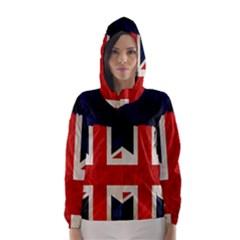 Flag Of Britain Grunge Union Jack Flag Background Hooded Wind Breaker (women)