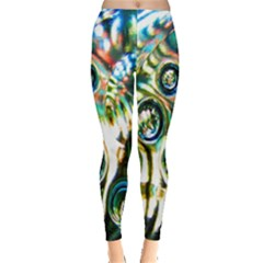 Dark Abstract Bubbles Leggings  by Nexatart