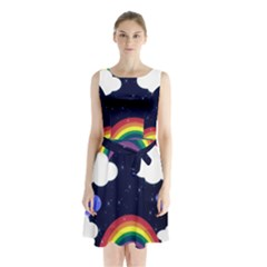 Rainbow Animation Sleeveless Chiffon Waist Tie Dress by Nexatart