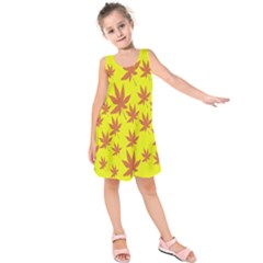 Autumn Background Kids  Sleeveless Dress by Nexatart