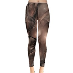 A Fractal Image In Shades Of Brown Leggings