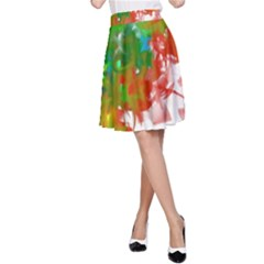 Digitally Painted Messy Paint Background Textur A Line Skirt by Nexatart