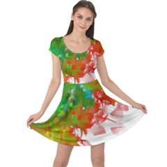 Digitally Painted Messy Paint Background Textur Cap Sleeve Dresses by Nexatart