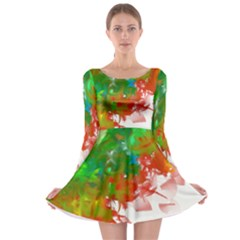 Digitally Painted Messy Paint Background Textur Long Sleeve Skater Dress by Nexatart