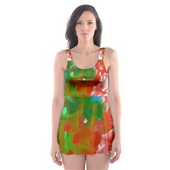Digitally Painted Messy Paint Background Textur Skater Dress Swimsuit by Nexatart