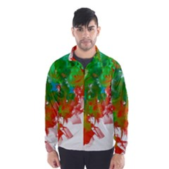 Digitally Painted Messy Paint Background Textur Wind Breaker (men) by Nexatart