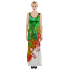 Digitally Painted Messy Paint Background Textur Maxi Thigh Split Dress by Nexatart