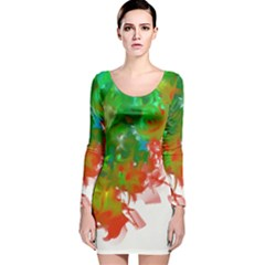 Digitally Painted Messy Paint Background Textur Long Sleeve Velvet Bodycon Dress by Nexatart