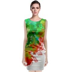 Digitally Painted Messy Paint Background Textur Classic Sleeveless Midi Dress by Nexatart