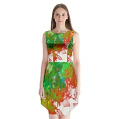 Digitally Painted Messy Paint Background Textur Sleeveless Chiffon Dress   by Nexatart