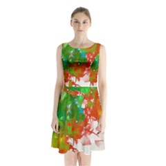 Digitally Painted Messy Paint Background Textur Sleeveless Chiffon Waist Tie Dress by Nexatart