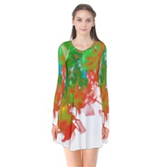 Digitally Painted Messy Paint Background Textur Flare Dress by Nexatart