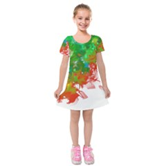 Digitally Painted Messy Paint Background Textur Kids  Short Sleeve Velvet Dress by Nexatart