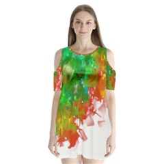 Digitally Painted Messy Paint Background Textur Shoulder Cutout Velvet  One Piece by Nexatart