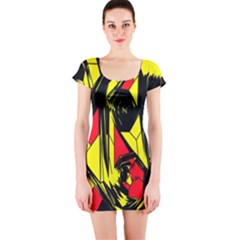 Easy Colors Abstract Pattern Short Sleeve Bodycon Dress