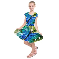 Blue Spotted Butterfly Art In Glass With White Spots Kids  Short Sleeve Dress