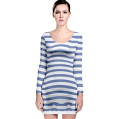 Animals Illusion Penguin Line Blue White Long Sleeve Bodycon Dress by Mariart