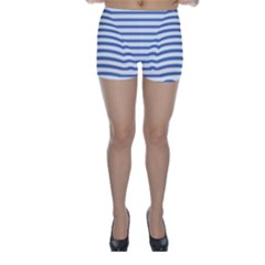 Animals Illusion Penguin Line Blue White Skinny Shorts by Mariart