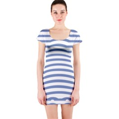 Animals Illusion Penguin Line Blue White Short Sleeve Bodycon Dress by Mariart