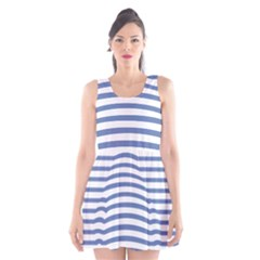 Animals Illusion Penguin Line Blue White Scoop Neck Skater Dress by Mariart