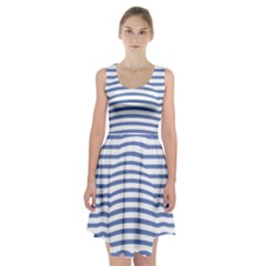 Animals Illusion Penguin Line Blue White Racerback Midi Dress by Mariart