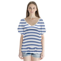Animals Illusion Penguin Line Blue White Flutter Sleeve Top by Mariart