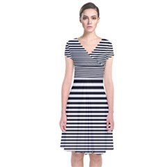 Black White Line Short Sleeve Front Wrap Dress by Mariart