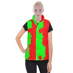 Critical Points Line Circle Red Green Women s Button Up Puffer Vest by Mariart