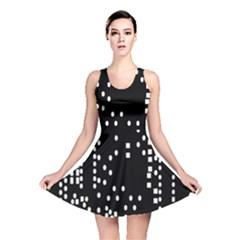 Circle Plaid Black White Reversible Skater Dress