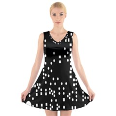 Circle Plaid Black White V Neck Sleeveless Skater Dress by Mariart