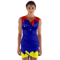 Critical Points Line Circle Red Blue Yellow Wrap Front Bodycon Dress by Mariart