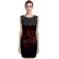 Dendron Diffusion Aggregation Flower Floral Leaf Red Black Classic Sleeveless Midi Dress by Mariart