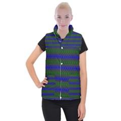 Diamond Alt Blue Green Woven Fabric Women s Button Up Puffer Vest by Mariart