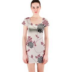Flower Floral Black Pink Short Sleeve Bodycon Dress by Mariart