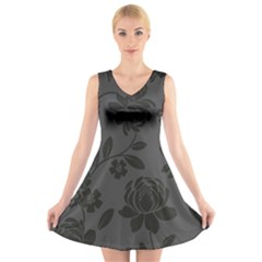Flower Floral Rose Black V Neck Sleeveless Skater Dress