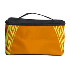 Greek Ornament Shapes Large Yellow Orange Cosmetic Storage Case by Mariart